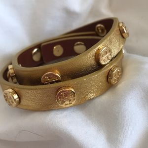 Tory Burch wrapt gold leather bracelet